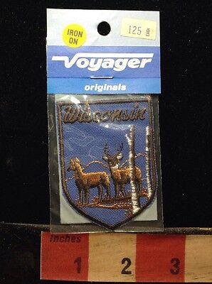 Voyager Originals Vtg In Pkg Old Stock WISCONSIN Deer Buck Souvenir Patch ~ 65E5