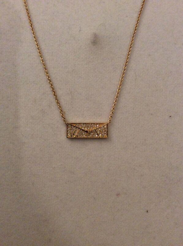 Nadri Love Letter Necklace $80 Gold Tone #252
