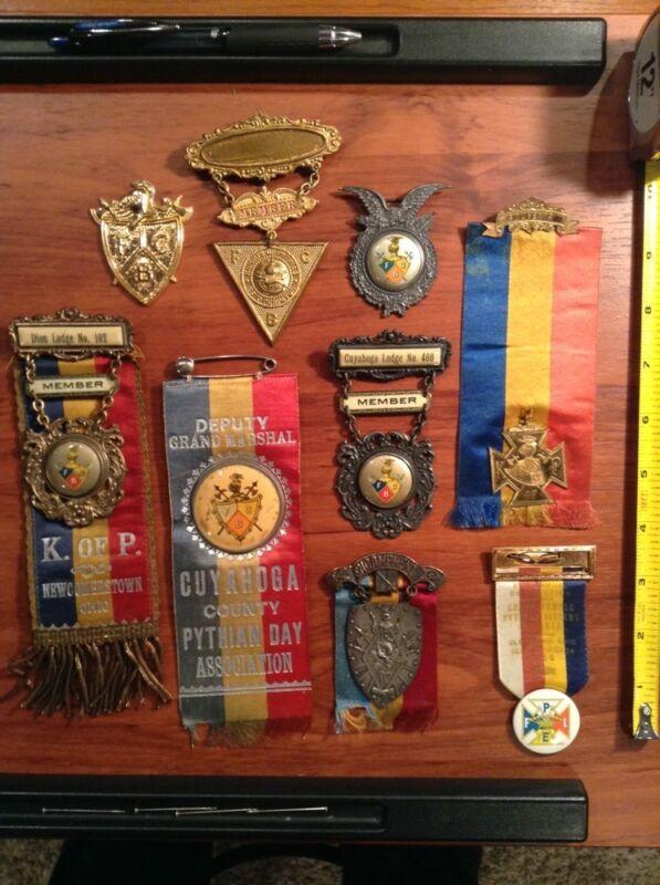 Knights of Pythias Pin Ribbon Badge lot Member Lodge Pythian Sisters Souvenir