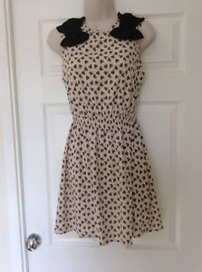 Atmosphere Cream Heart Print Skater Dress, Bow Detail, Size 12