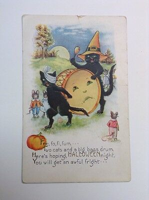 Whitney Halloween Poem Black Cats Drumming Dressed Mice Embossed Postcard