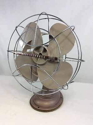 "Vintage Westinghouse Fan Electric Metal Oscillating No 12LA4 14"" Steampunk Nice!"