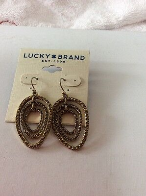 Lucky Brand Gold Tone Drop Pave Pear Shaped Earrings O143