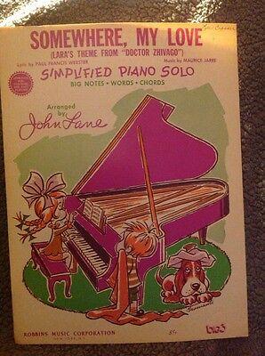 1966 SOMEWHERE MY LOVE JOHN LANE SIMPLIFIED PIANO SOLO MU