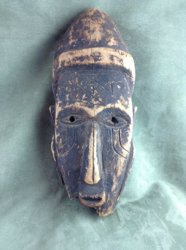 Antique African Dan Tribal Ceremonial Mask Heavy Wood, Rough shape, very old