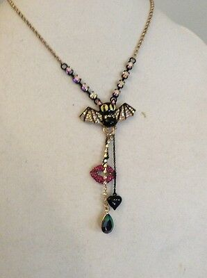 $48 Betsey Johnson Dark Shadows Collection Black Bat & Lip Necklace Holiday Sale
