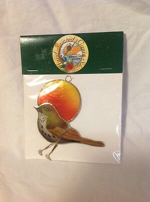 Capiz Suncatcher - Bird with sun Suncatcher - Handpainted Capiz Seashells Multi-Color