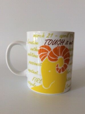 ARIES Coffee Cup - Zodiac Sign - Yellow & Orange Ram - Describes Personality Aries Zodiac Personality