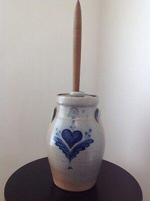 "Vintage 1987 Rowe Pottery 26.5"" X 9"" Cobalt-Glaze 2-Gallon Butter Churn & Dasher"