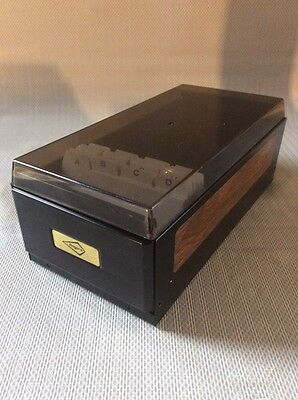 Rogers Rolodex Style Business Card File Box - Smoke Tint Black Steel