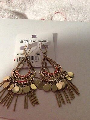 $25 BCBGeneration Gold Tone Bead  & Fringe Chandelier Earrings BCB13