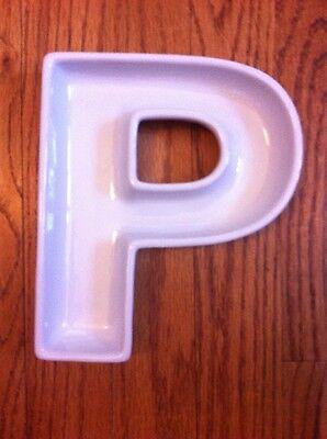 Sur La Table Ceramic Letter  P  Wedding Appetizer Snack Party Bowl Dish 7+ x - Ceramic Letter Dishes