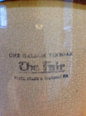 - one gallon stoneware vinegar jug 1905 pa pennsylvania THE FAIR  STENCILED