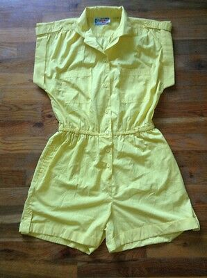 TRUE Vintage Yellow Shorts Romper Playsuit Onesie Jumpsuit, M - Harbor Run