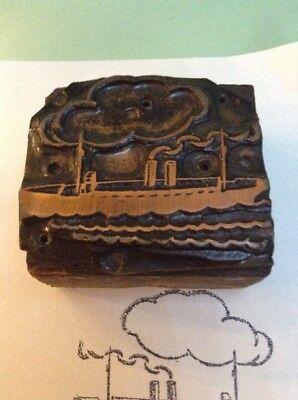 Vintage Printing Block Copper On Wood Steam Ship