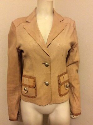 Beige Stitch (BUON BEIGE PICK STITCH SHEEPSKIN PERFORATED LEATHER JACKET BLAZER SIZE S)