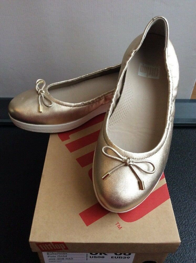 414c8bb2b37 BNIB Fitflop Ladies Pale Gold Leather Superbendy Ballerinas Size 6 ...