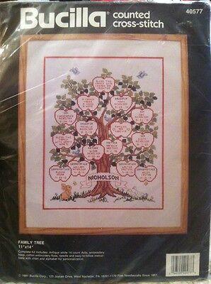NIP! Bucilla Counted Cross Stitch Family Tree 11 x 14 40577 with Hoop!! ()