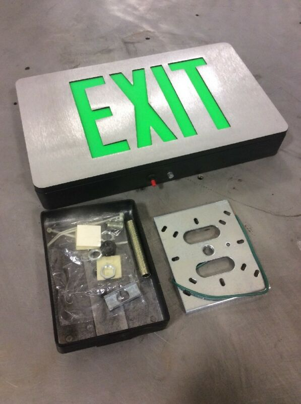 Exit Sign, Brushed Aluminum (green)