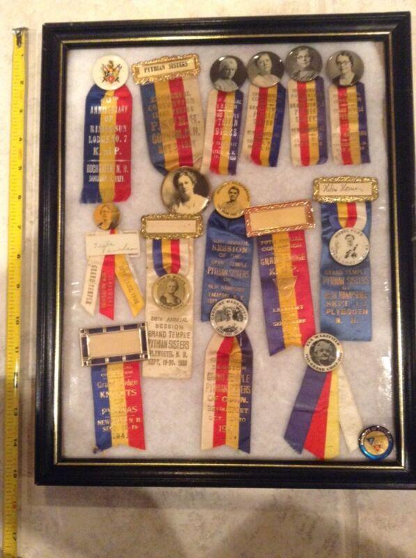 1921-1943 Grand Temple Lodge Knights of Pythias Sisters pin ribbon lot NH Chief
