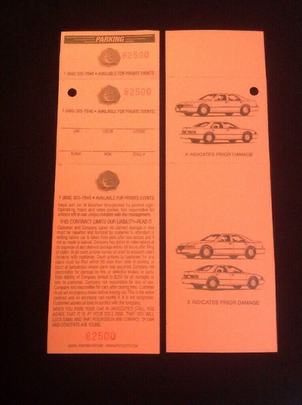 3 PART VALET PARKING TICKET with KEYHOLE, 2 Sided W/DESCRIPTION 1000 per pack