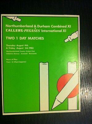 Northumberland & Durham V CALLERS PEGASUS Scorecard Cricket Programme 1983