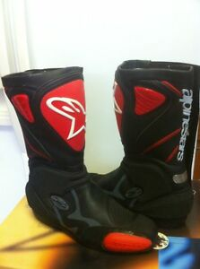 ALPINESTARS RACING BOOTS SIZE 9 OR 43 EUROPEAN BLACK/RED NEW Windsor Region Ontario image 6