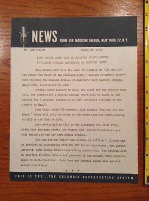 1949 Cbs News Bulletin Letter 4 28 49 Tv Radio Bing Crosby Joins Kentucky Derby