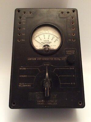 Simpson Volt Ohmmeter Model 443 Untested
