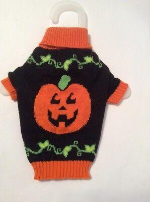 NWT Wag-a-Tude Pumpkin Halloween Sweater for Pets Size XXS Dog