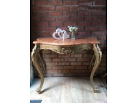 Bespoke Rococo Boudoir French Marble & Gold Wood Console / Hall Table