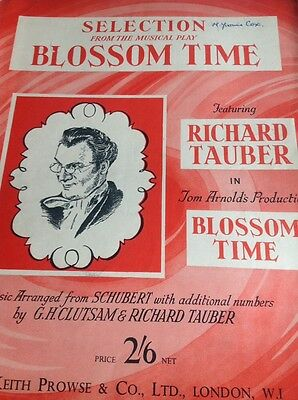 B1a  Sheet Music Folded Blossom Time Selections Tauber Schubert