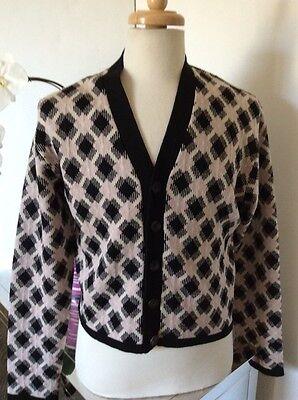 John Bartlett Mens Wool Cropped Cardigan Sweater Black Pink Beige USA Sz Medium