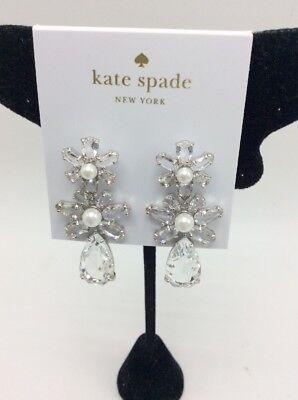 """$78 kate spade """"Triple Drop Earrings"""" Flora Triple Clear silver tone Z2"""