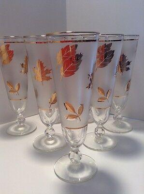 Vintage Libbey Gold Leaf Frosted Footed Pilsner Glasses , set of 7 Vintage Pilsner Set