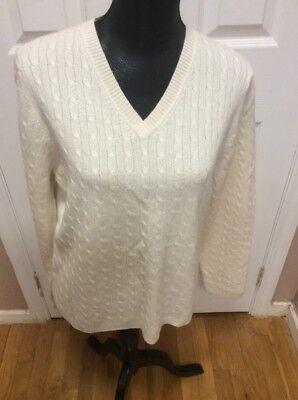 Winter White Cashmere (Charter Club Womens Sweater XL Cashmere  Winter White Silver MetallicV-Neck $179)