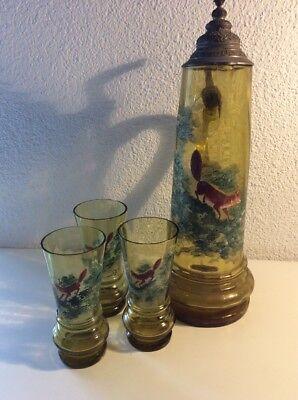 Antikes Wein Service, Von 1880 / Krug Mit 3 Gläser Aus Glas , Handbemalt ()
