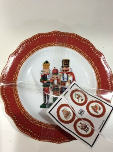 Купить 222Fifth Christmas Fun Nutcracker Winter New 4 Appetizer  Dessert Plates