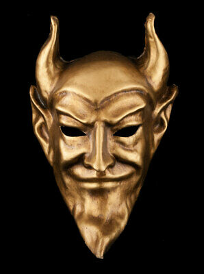 Mask from Venice Devil Diavolo Golden Authentic IN Paper Mache Venetian 597