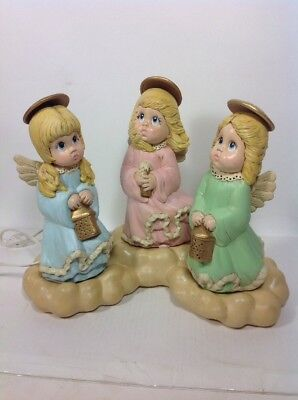 """4 pc Vintage 1980's Hand Made 9"""" Lighted Ceramic Angels & Cloud Beautiful Detail"""