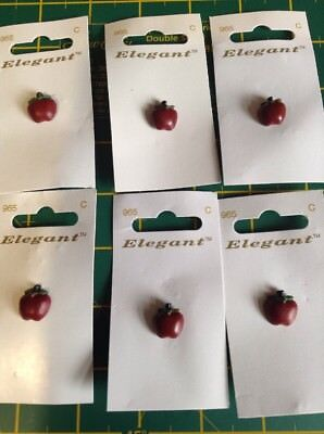 6 Cards of Elegant Red Apple 10mm Shank Buttons Sewing/Knitting/Crafts 965