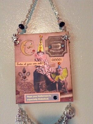 Original mixed media Halloween Folk Art Collage/ Door knob - Halloween Mixed Media Art