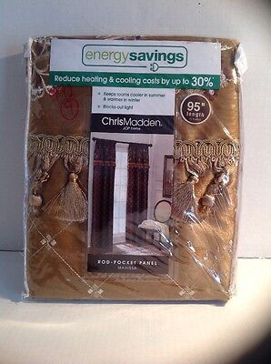 New Chris Madden Marissa Aspen Gold Embroidered Curtain Panel 50 X95  Energy