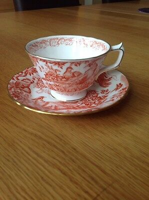 ROYAL CROWN DERBY 'Red Aves' Cup & Saucer Duo, VGC c1976/79 Aves-cup