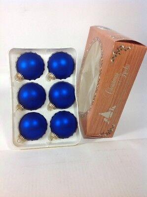 "6 Vintage Krebs 2-1/2"" Blue Glass Ball Christmas Tree Ornaments"