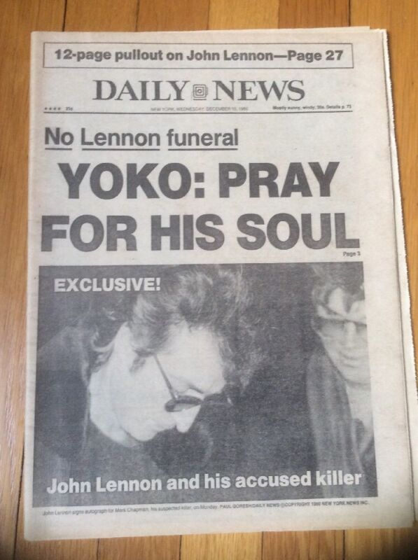 NY Daily News December 10, 1980 John Lennon Yoko: Pray for his soul newspaper