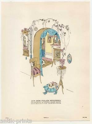 Art Déco-Palais Stourdza-Lithographie aus Styl 1922