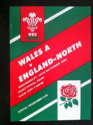 WALES A v ENGLAND North 1993 RUGBY PROGRAMME
