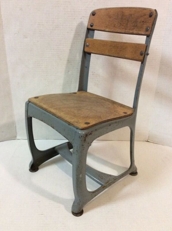 "VTG Metal Wood School Chair Student 11"" seat 21 3/4"" back rest"
