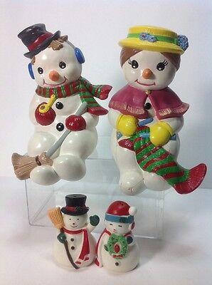 Vintage Handmade Ceramic Shelf Sitter Mr & Mrs Snowman Couple Figurine Christmas